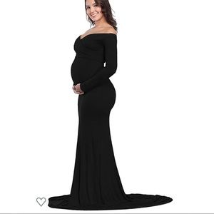 Black off-shoulder Maternity Maxi Gown